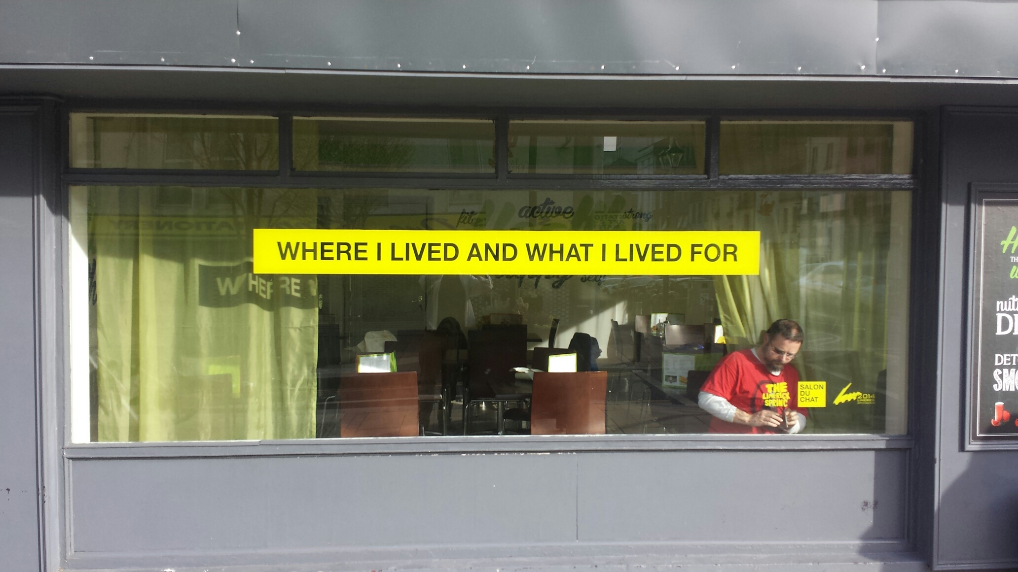 Text on window of Fitto Cafe